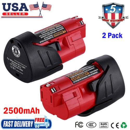 2X 12Volt Battery For Milwaukee M12 12V Lithium 48-11-2401 48-11-2402 48-11-2420