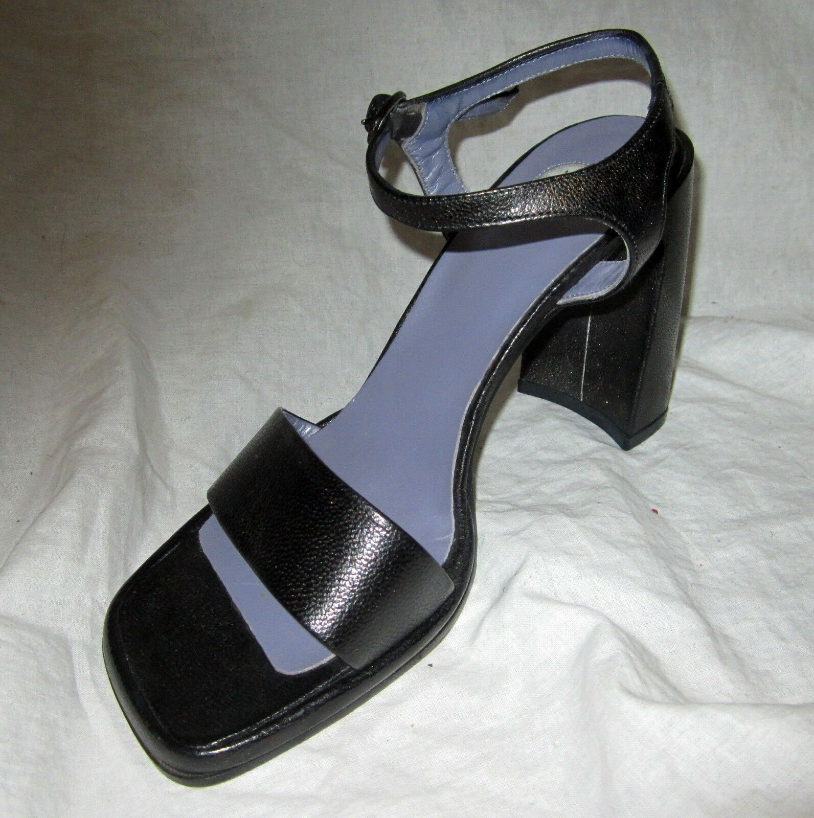 New High Heels Sandals shoes MADE IN ITALY Sz 8 Ankle Strap Black IXOS
