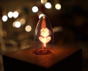 SELTENE-KERZE-E27-3-5W-GLIMMLAMPE-Gluehbirne-Blumendekor-Deco-Lampe