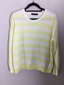 1e382533607 M S Collection White   Lemon Striped Knit Jumper. Size 18UK. Ex Cond ...