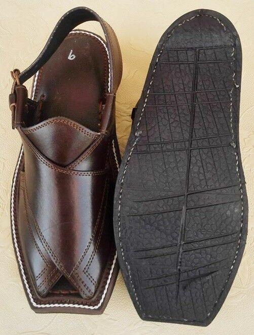 US 7,10 TRIPLE SOLE MEN'S HANDMADE HANDMADE HANDMADE  DARK BROWN LEATHER PESHAWARI CHAPPEL cf1c0c