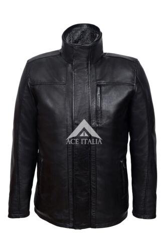 Men/'s Black Classic Winter On Road Warm Real Soft Leather Biker Jacket 2675