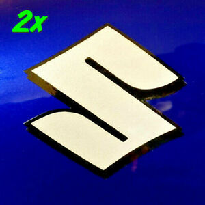 "Suzuki S logo 4"" Reflective White decals 600 sticker 400 gsxr 1100 drz 750 1000"