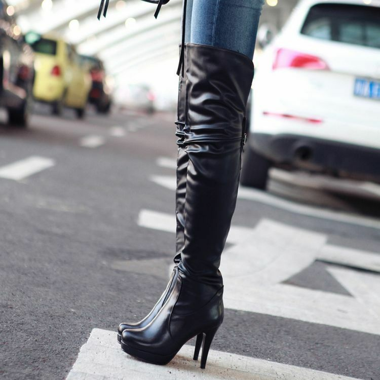 Chic Women Real Leather Round Toe Pull On High Heel Platform Over The Knee Boots