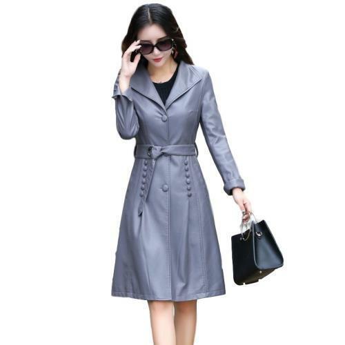 Women Mid Length Faux Leather Windbreaker Lapel Fashion Trench Overcoat M-5XL L