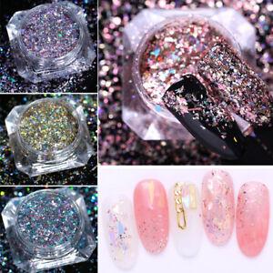 Holographic Nail Art Glitter Powder Paillettes Flakies Manicure Nail Tips Decor