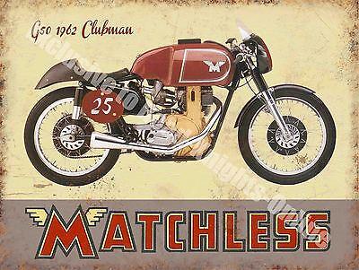 Vintage Garage Matchless Clubman, 120 Motorcyles 60's Bike, Large Metal Tin Sign