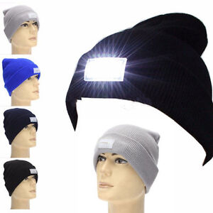 1ae4f399bf5 5 LED Lighted Beanie Caps Hats Glow Bright Women Men Winter Warm Ski ...