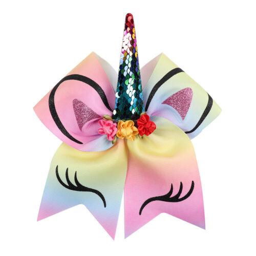 "JOJO Siwa Kids Girls 8/"" Large Rainbow Unicorn Sequin Hair Bow Clip Hairgrip Xmas"