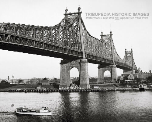 1908 Vintage Queensboro Bridge 8x10 Photo NYC Boat Ship Print New York City