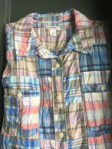 LL Bean Women Madras Plaid Shirt Sz L Button Down