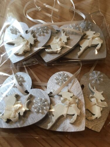 9 X Reindeer Christmas Decorations Shabby Chic Rustic Wood Heart Silver Cream