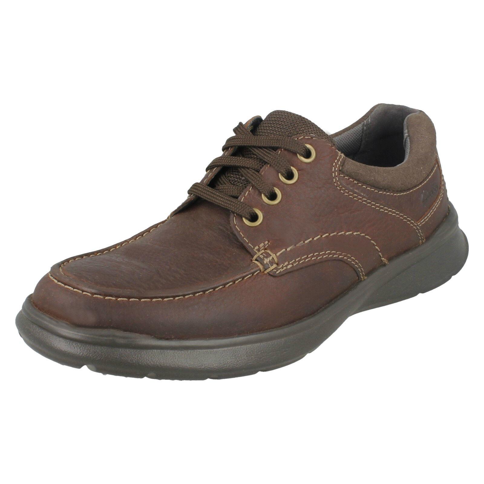Clarks cotrell Edge Hombre Marrón Cuero Ajuste Engrasado Zapatos Con Cordones Ajuste Cuero G cef02c