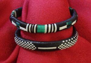2 X Afrika Armreif / Kunststoff Bast Ethno Folk Muster Unisex / Vintage