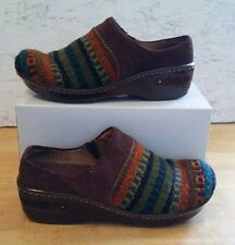VGUC BORN KIMMY WOMEN'S SIZE 7/38 BROWN & MULIT-COLOR WOOL CLOGS