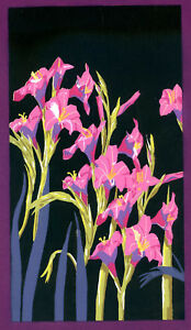 1930s-French-Pochoir-Print-Still-Life-Pink-Flowers-Black-Background