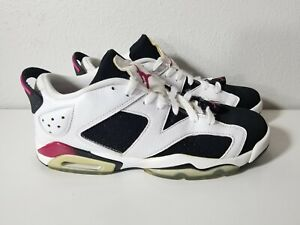 pretty nice f9432 1e94a Details about Nike Youth Air Jordan 6 Retro Low 768878-107 White/Sport  Fuchsia/Black Sz Y8.5