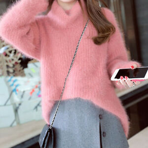 Ladies-Turtleneck-Jumper-Soft-Warm-Furry-Sweater-Long-Sleeve-Knit-Pullover-Pink