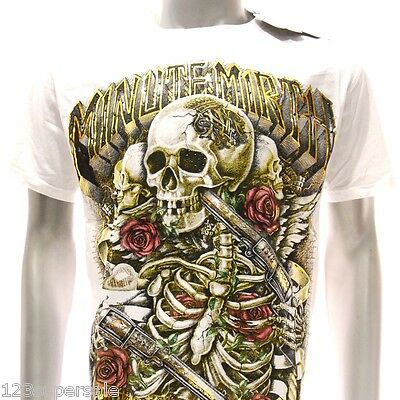 m85g Minute Mirth T-shirt Tattoo Skull Skeleton Ghost Graphic Funky Zombie Love