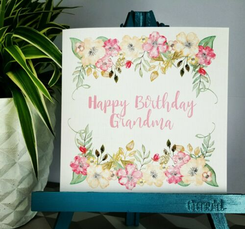 PERSONALISED Handmade Birthday Floral Watercolour Print Nan Grandma Granny Card