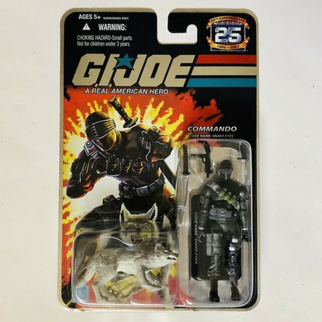 COMMANDO SNAKE EYES w/ TIMBER GI Joe 25th Anniversary Figure 2007 MOC Foil!!