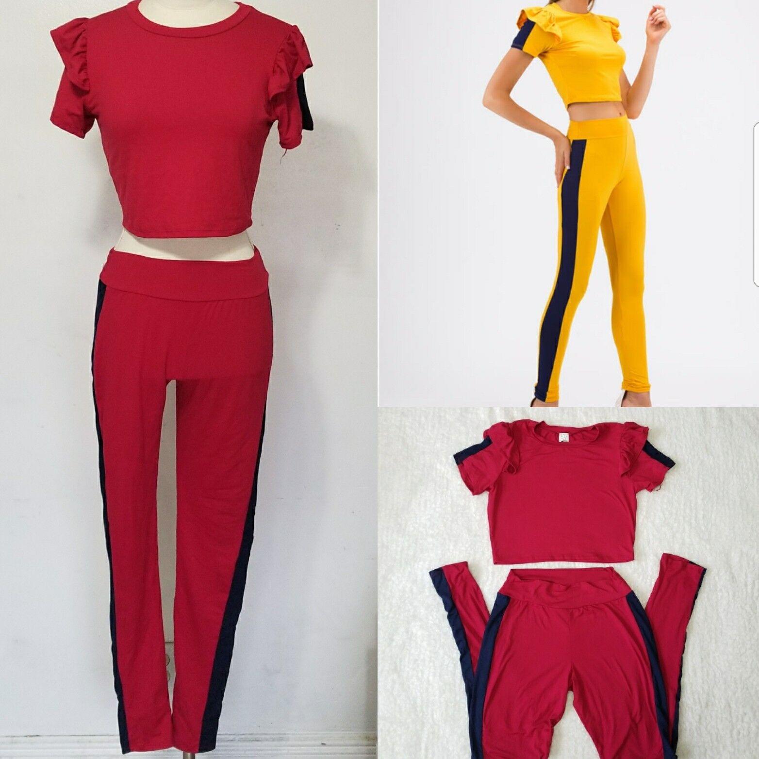 Go Jane Women size Medium Red Sporty Stripe Ruffled Top Pant Set