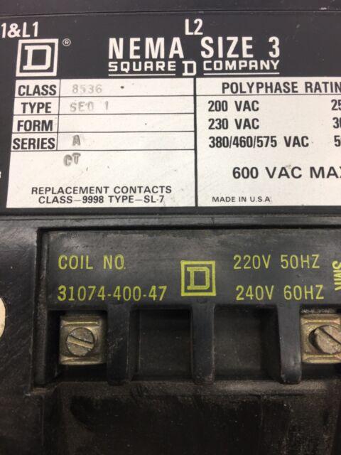 Square D Size 3 Starter 8536se01 120 Volt Coil for sale online
