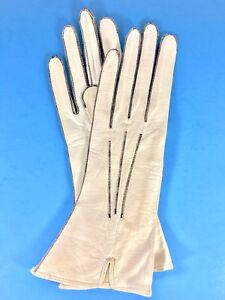 Antique-Leather-Women-White-Gloves-ELLPEER-Size-7-Three-Point-Stitch-Vintage-20s