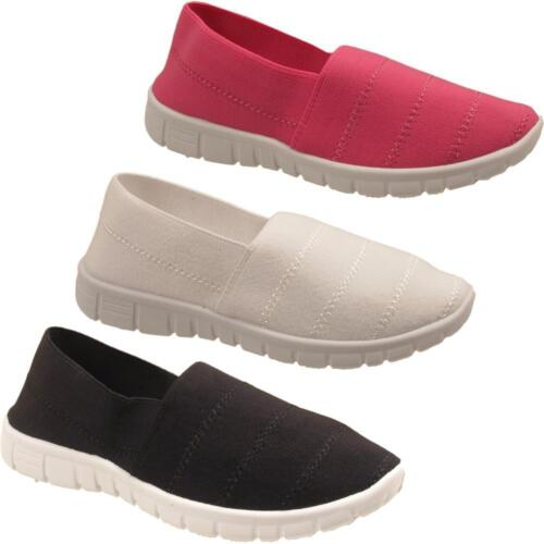 Girls Slip On Casual Kids Infants Elasticated Canvas Pumps Trainers Shoes Sizes