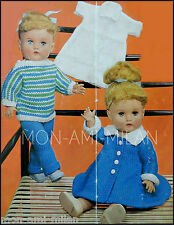 "Vtg Knitting Pattern Copy • DOLLS CLOTHES COAT DRESS TREWS JUMPER KNICKERS • 17"""