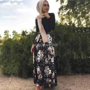 Islamic-Women-Long-Maxi-Skirts-High-Waist-Printed-Muslim-Dress-Abaya-Floral-Gown