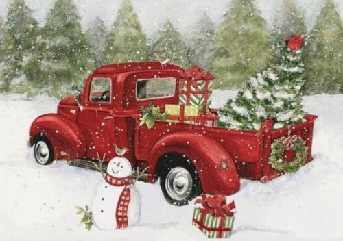 HOLIDAYS CHRISTMAS CROSS STITCH PATTERN /_Christmas Red Truck Happy Snowman