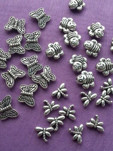30 mix or 50 3D Small BUTTERFLY DRAGONFLY BEE Double Sided Silver SPACER BEADS