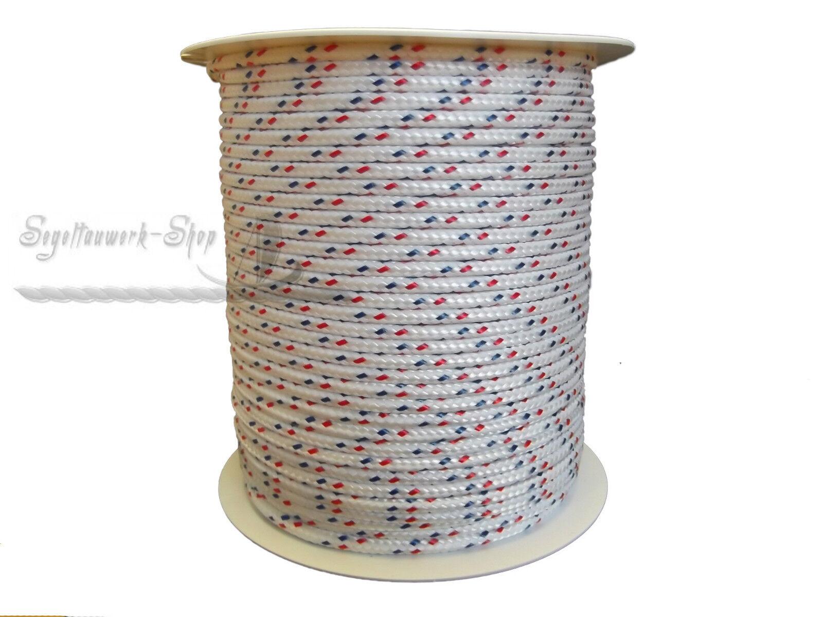 4mm weiß rot blau 100m-500m Schot Seil Festmacher Tauwerk Flechtleine Reepschnur