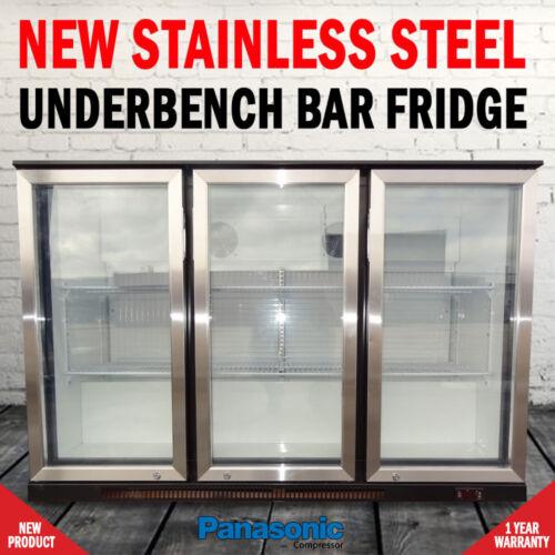 1 of 1 - NEW Free Standing 330 Litre Under Bench 3 Door Fridge With Stainless Steel Doors