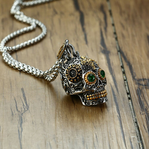 Sugar Skull Head Pendant Virgin Mary Men Necklace Gift Mexican Day of the Dead
