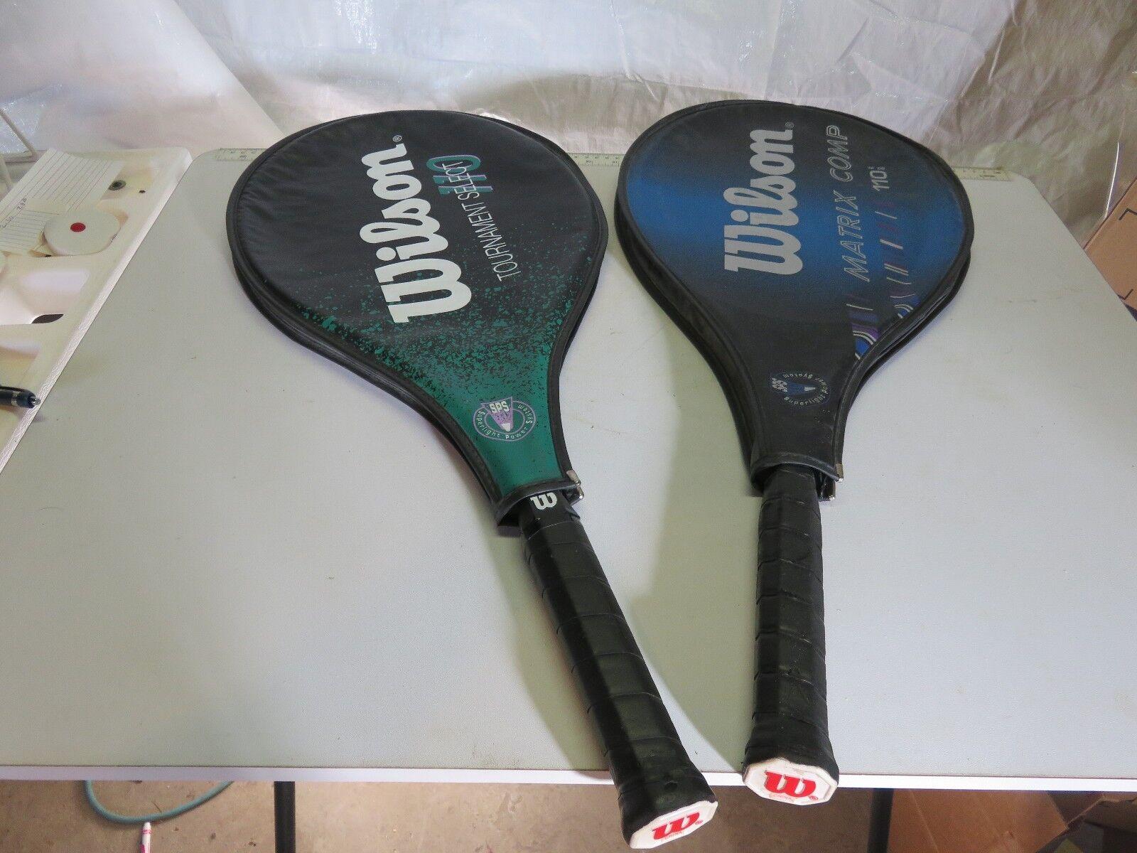 2- Wilson tennis racquets tournament select 110 L3 green & matrix comp 110 L2
