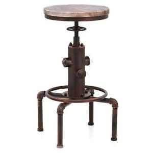 Industrial Bar Stool Antique Swivel Chairs Counter Height Adjustable