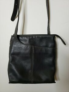 Fossil-Womens-Crossbody-Black-Purse-small-Leather-Zip-Outer-Pockets-Adjustable