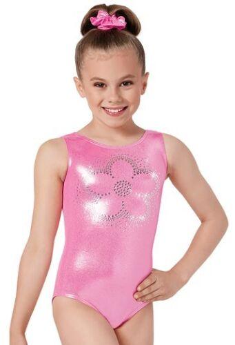 Gymnastics Leotard New Girls MC 8-10 LC 12-14 Pink Purple Metallic Foil Dance L