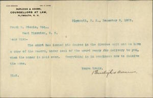 1903 Plymouth New Hampshire (NH) Letter Burleigh & Adams Counsellors at Law