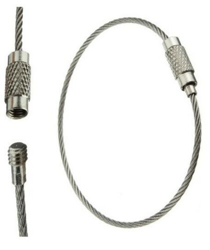 Wire Keychain Key Ring Stainless Steel Cable with Screw Lock 10pcs Length 18 cm