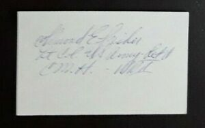 Lt. Col. ALMOND E. FISHER, WWII Medal of Honor Recipient Signed 3x5 Very Scarce