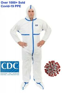 Viroguard Protective Coverall PPE Tyvek Hazmat Bunny Suit w Hood/Boots - Size L