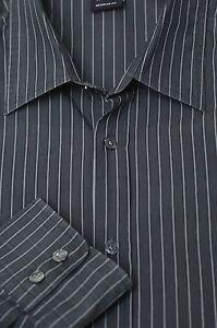 Hugo-Boss-Men-039-s-Dark-Gray-on-Gray-Stripe-Cotton-Casual-Shirt-L-Large
