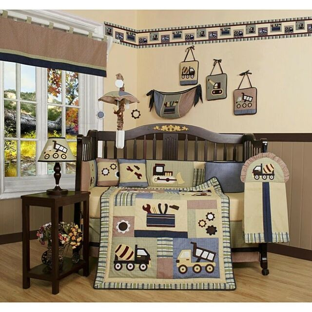 Construction Trucks 13 Pcs Crib Bedding Set Baby Boy Nursery Quilt Per Diaper