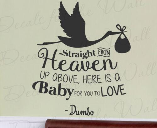 Straight From Heaven Baby Dumbo Disney Kids Wall Art Vinyl Decal Sticker Q49