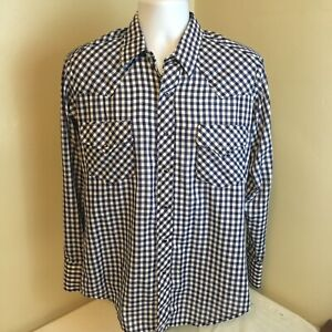 Roebucks-Men-Western-Pearl-Snap-Cowboy-Shirt-Blue-White-Gingham-Plaid-Medium-USA