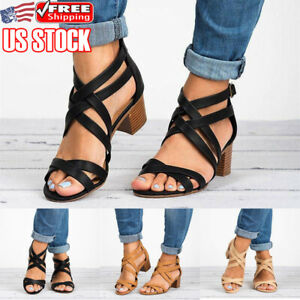 Womens-Ankle-Strap-Block-Kitten-Heels-Sandals-Ladies-Summer-Casual-Shoes-Size-US