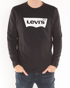 57041e5c Mens Levis Graphic Batwing Logo Black & White Crew Neck Jumper ...